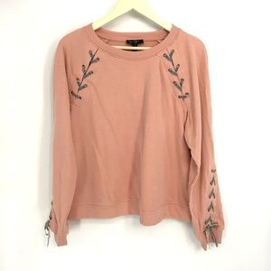 Jessica Simpson Pink Crew Neck Lace Up Sweater